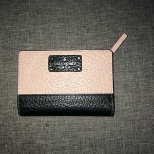Kate Spade Black Baby Pink Pebbled Leather Wallet